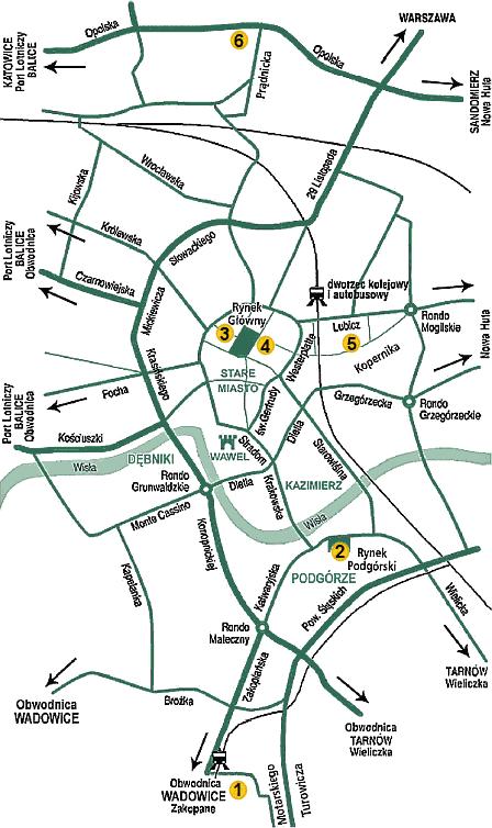 Святая Сестра Фаустина - Следами св. Сестры Фаустины - Краков - Mapa
